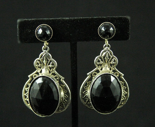 Large Pendulum Drop Screwback Earrings in Black & Silver