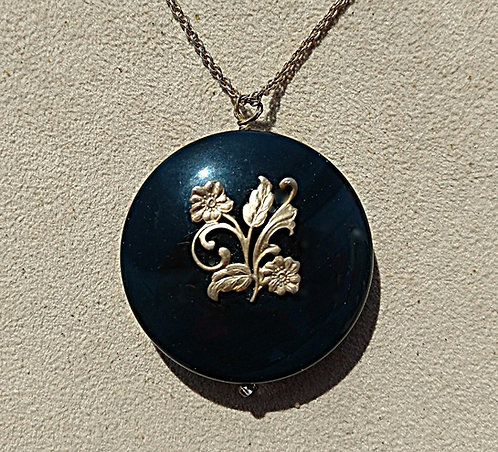 Vintage Black Onyx Circle Pendant Necklace with Antique Gold Flower Overlay