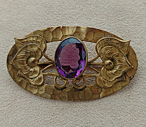 Victorian Oval Brooch in Heavy Antique Brass with Faceted Amethyst Stone