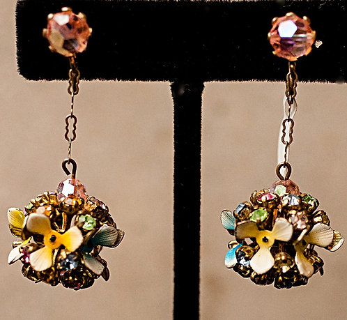 Enameled Floral & Rhinestone Globe Clip on Earrings
