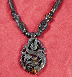 Asian Carved Dragon/Serpent Bone Necklace in Espresso Brown