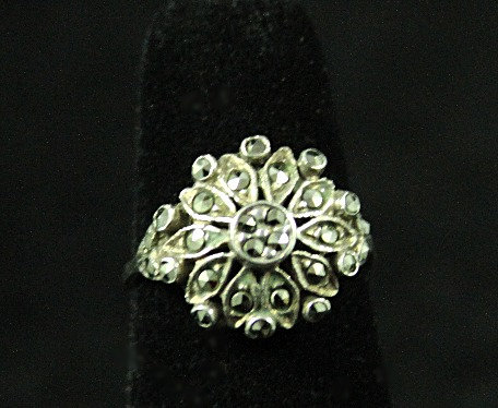 Sterling Round Ring Covered with Marcasite, Size 4.75