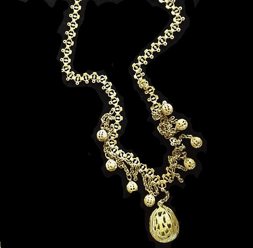 1920's Asian Antique Brass Filigree Bead & Fringe Necklace - Fabulous!