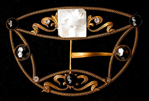 Antique Victorian Brass Belt Buckle with Mother-of-Pearl, Rhinestones, Onyx & He