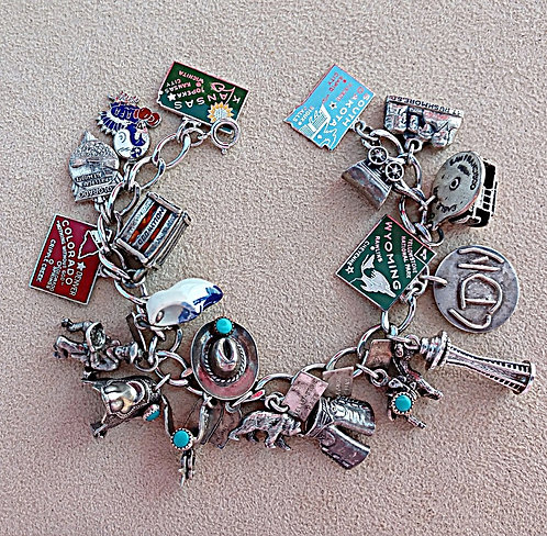 Sterling Charm Bracelet Packed with 27 Charms, Western States Theme