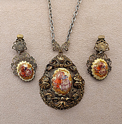 Vintage W. German Necklace & Earring Set in Antique Brass with Romantic Portrait