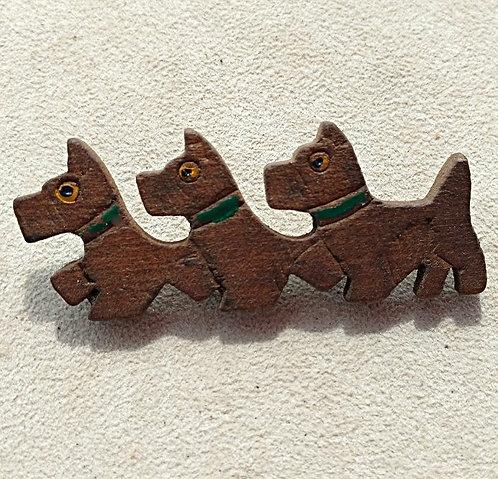 Vintage Wooden Handmade Brooch - Strutting Scottie Triplets