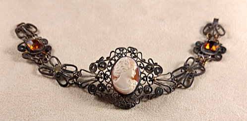 Antique Hand Wired Filigree Bracelet with Shell Cameo and Citrine