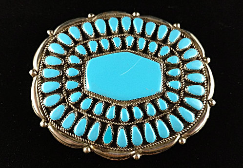 Large Vintage Native American Style Belt Buckle in Turquoise & Silver