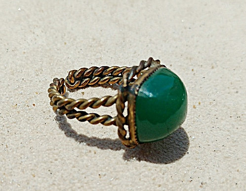 Vintage West German Antique Brass Ring with Jade Stone, Adjustable Size