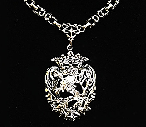 Unisex Vintage Heavy Chain Silver Tone Crowned Heart Lion Shield Necklace