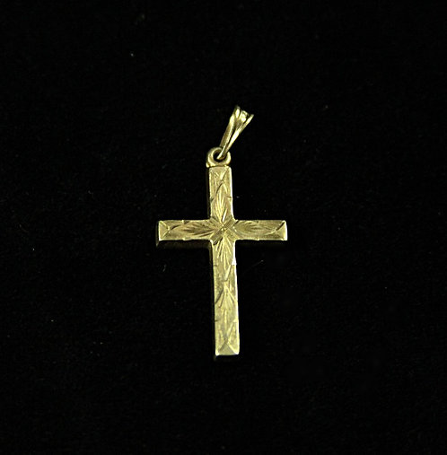 10K Gold Finely Etched Cross Pendant