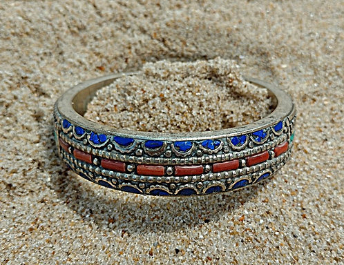 Tibetan Bangle Bracelet in Turquoise, Lapis, Coral & Silver