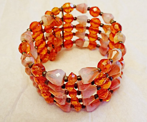 Vintage 1940's Wire Wrap Bracelet - Five Rows of Glass Orange Beads