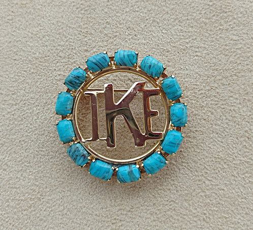 I Like Ike - 1950's Political Brooch, Gold Tone with Aqua Blue Stones