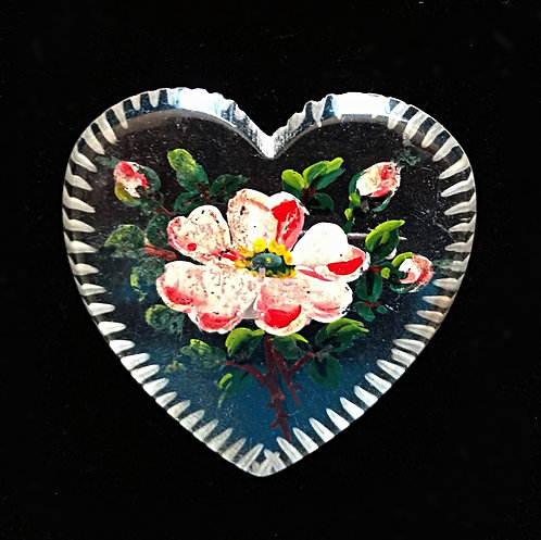 Vintage Lucite Heart Brooch Hand Painted with Old Fashioned Rose