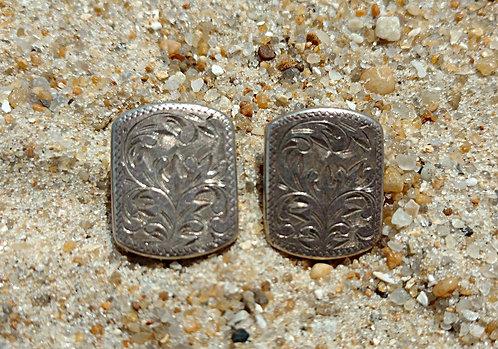 Vintage Vine Etched Sterling Silver Rectangular Clip-on Earrings