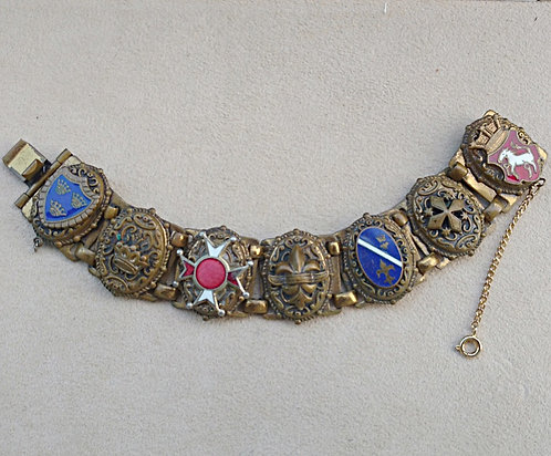 Early 1900's Antique Brass & Enamel Shield of Armor Bracelet