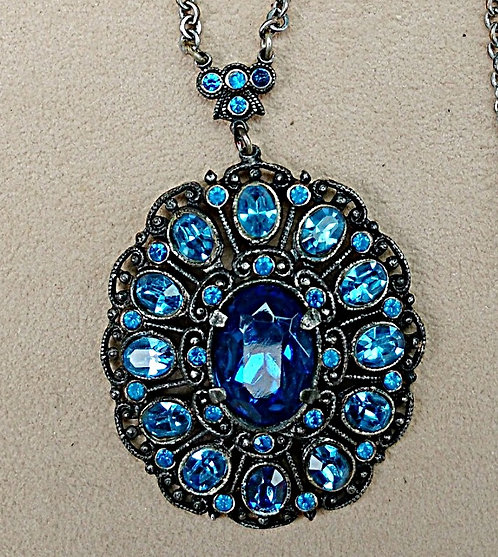 Early 1900's Royal Blue Rhinestone & Silver Necklace
