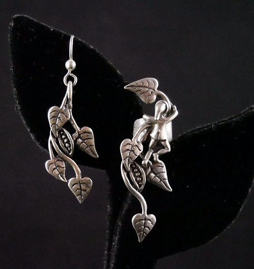 Whimsical Artist Signed Silver Jack & The Beanstalk Pierced Earring and Ear Cuff