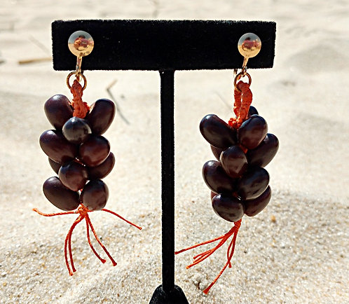 1950's Coffee Bean& Macrame Screwback Earrings in Brown & Orange