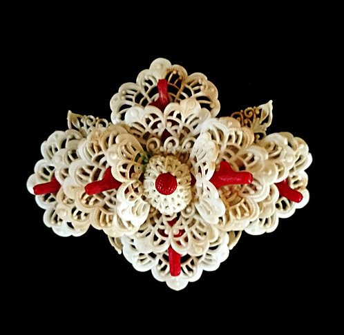 Early 1900's Vintage Ivory & Red Flower Celluloid Brooch