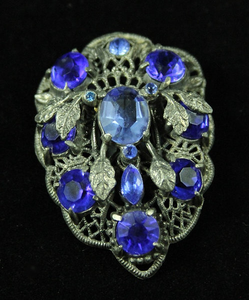 Royal Blue Czech Glass Antique Dress Clip in Pot Metal Setting