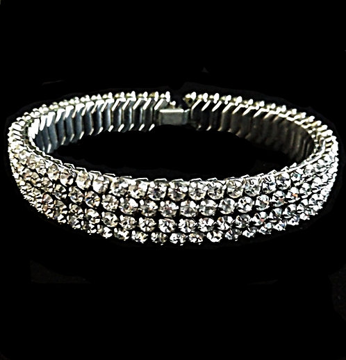 1930's Crystal Clear Rhinestone Stretch Choker by Hiller