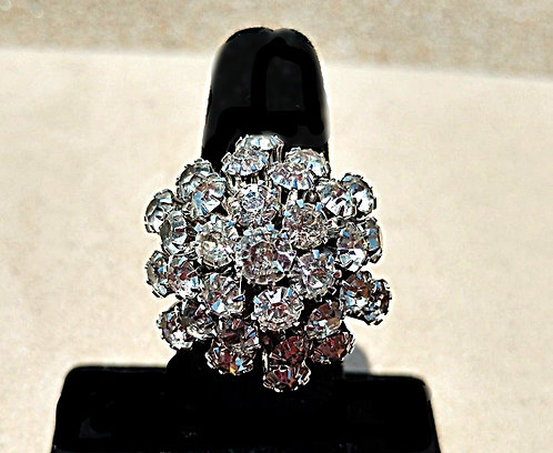 Mid-Century Vintage Emmons Silver Rhinestone Dome Cocktail Ring, Adjustable