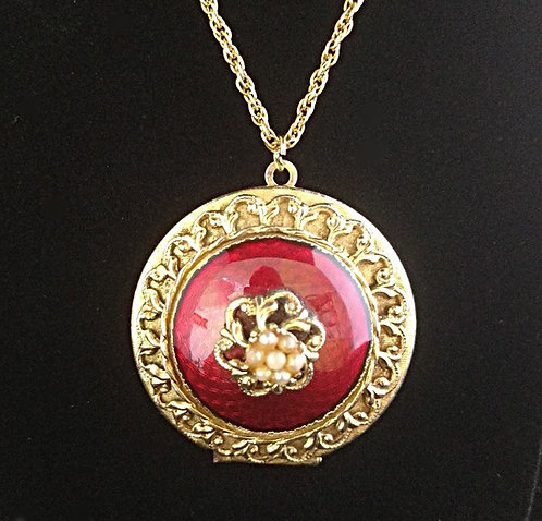 1970's Red Enamel & Gold Circle Locket with Baby Pearls