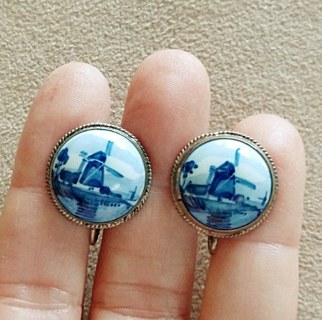 Sterling Silver Delft Hand Painted Windmill Screwback Earrings