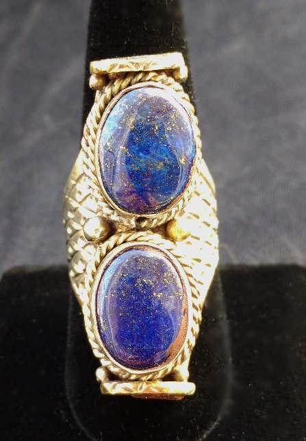 Unisex Tibetan 2-Stone Lapis Ring in Silver & Gold Band, Adjusts, Size 11