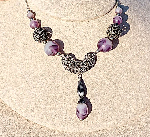 Victorian Purple Glass & Silver Filigree Necklace