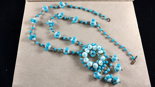 Early 1900's Milk Glass White & Blue Beaded Necklace