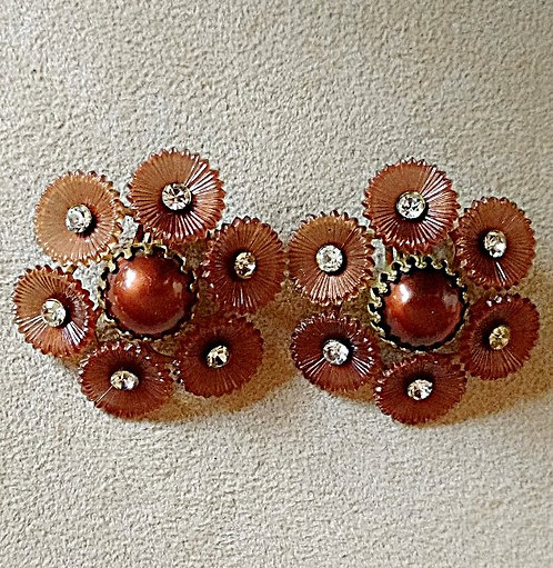 1950's Rust Brown Round Celluloid Clip-on Earrings with Clear Rhinestones