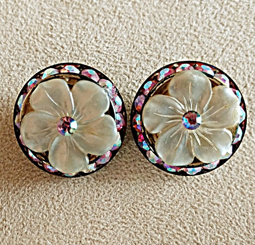 Floral Mother-of-Pearl Clip-on Earrings, Hot Pink Rhinestones