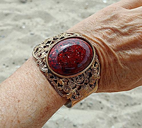 Mid-Century Large Vintage Ornate Antique Brass Cuff Bracelet with Burgundy Stone