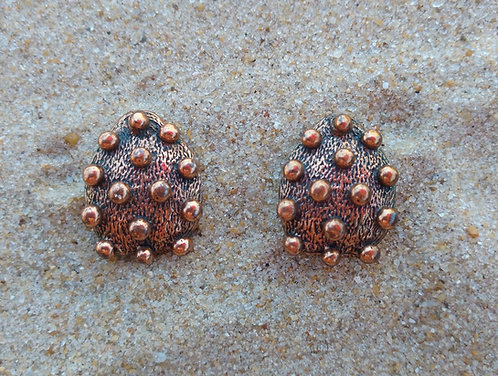 Mid-Century Polka Dot Copper Clip-On Earrings