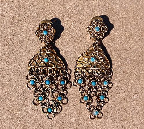 Vintage Brass & Turquoise Beaded Filigree Clip-on Earrings -Asian Style