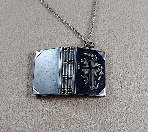 Antique Sterling Holy Bible Locket Necklace