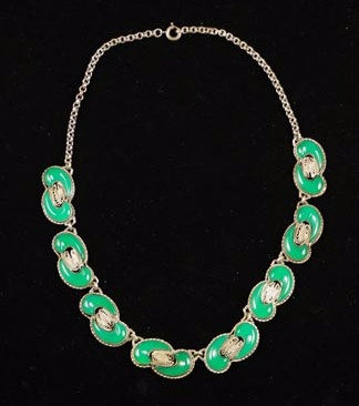 Antique Poured Jade Green Glass Silver Filigree Necklace