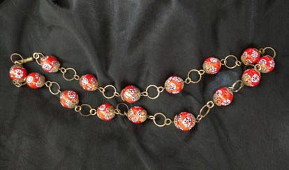 Red Glass Millifori Bead Necklace with Gold Links from Italy