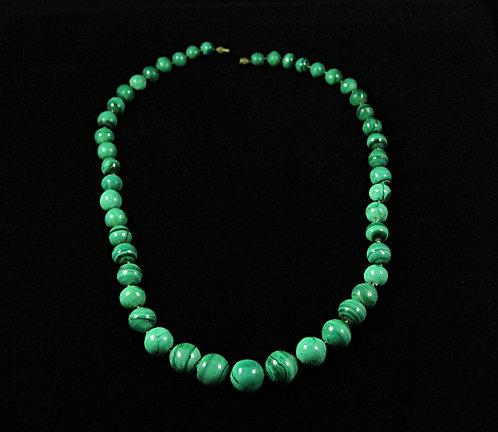 Antique Graduated Malachite Beaded Strand Necklace