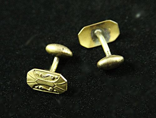 Victorian Small Octagonal Antique Brass Cufflinks
