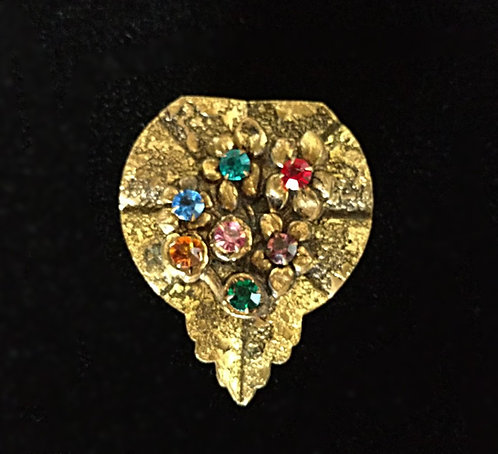 1920's Antique Brass Leaf Dress Clip with Multi-Color Rhinestones