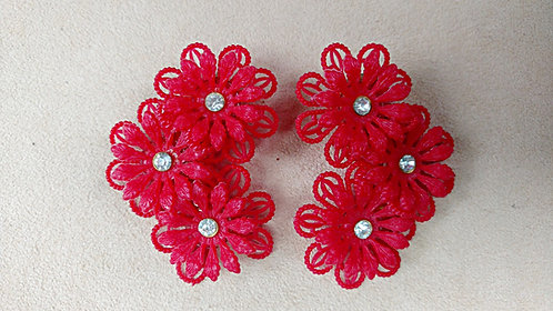 BIG 1950's Celluloid Red Flower Earrings Studded with Clear Rhinestones