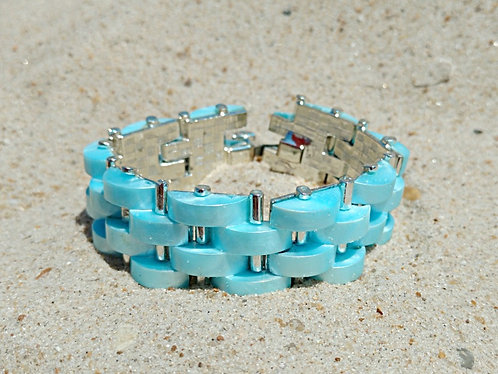1960's Pearly Aqua & Silver Basket Weave Thermoplastic Bracelet