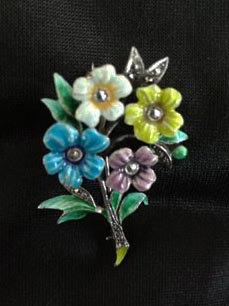 Four Flowers Bouquet Brooch in Sterling, Enamel & Marcasite