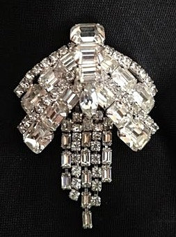 Kramer of New York Art Deco-Style Rhinestone Brooch with Baguettes & Fringe