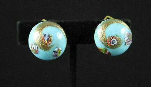 Italian Murano Aqua Milk Glass Clip-on Earrings with Rose Gold Swirl